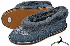 Women's Sheep Wool Ladies Shoes Moccasins Black Handmade Winter Boots Slippers