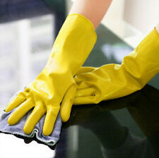 Protective Gloves Orange Yellow Laundry Dishwashing Rubber Waterproof Clean