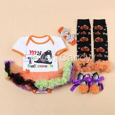 4PCS Newborn Girls Baby 1st Halloween Romper Tutu Dress Witch Hat Costume Outfit