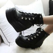 Women's lady Punk Boots Platform Lace up Creepers Gothic Shoes Boots pumps
