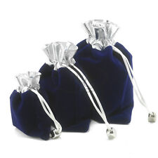 3pc Silver Sapphire Blue Velvet Drawstring Jewelry Pouches Present Packaging Hot
