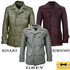 MENS PEA COAT Khaki Dr Who REAL COWHIDE Classic Reefer Military Leather Jacket