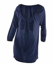Ex BHS blue embroidered lightweight tunic top BNWOT