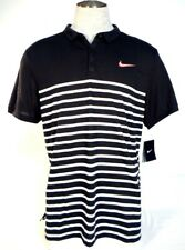 Nike Dri Fit Black & White Stripe Short Sleeve Tennis Polo Shirt Mens NWT