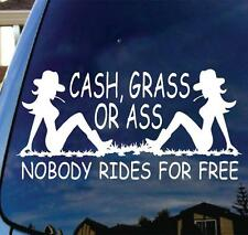 Cash Grass Ass Vinyl Decal Sticker Funny Country Cowboy Truck Horse Hunt