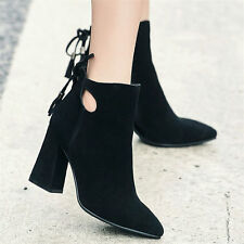 Womens Suede Leather Point Toe High Heels Ankle Boots Lace Up Lace Up Pump Shoes