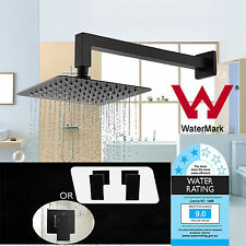 "WELS 8"" Brass Square Shower Head With Wall Mounted Arm Mixer Taps Set Matt Black"