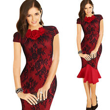 Women Retro Elegant Lace Spliced Slim Fishtail Cocktail Party Evening Dress