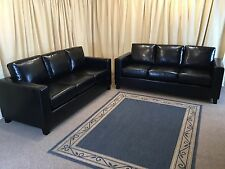 Black Leather Suite 2x 3 Seaters Sofas - New Ex Display