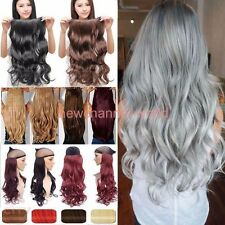 Clip in 3/4 Full Head 1 Piece Wavy Hair Extensions Curly Straight as Real Remy