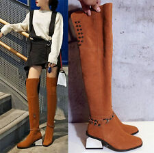 Fashion Womens Spike Studded Suede Leather Over Knee High Boots Winter Fur Shoes