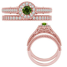 0.55 Carat Green Diamond Victorian Halo Bridal Wedding Ring Band 14K Rose Gold