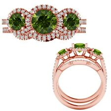 2.35 Carat Green Diamond Designer Three Stone Halo Ring + Band 14K Rose Gold