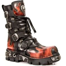 NEWROCK M 591-S1 CLASSIC BLACK RED FLAME METALLIC LEATHER BOOT BIKER GOTH BOOTS