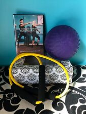 barre fitness class DVD set with resistance band and ball