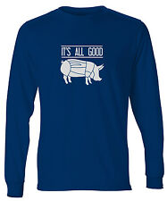 Men's Its All Good Pig Butcher Chart Long Sleeve T-Shirt Pork Cuts Bacon Shirt