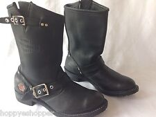 Harley Davidson Black Engineer Motorcycle Boots Top Grain Leather Womens 7
