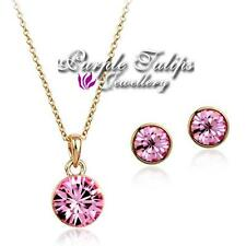 18CT Rose/White Gold Plated  SWAROVSKI Elements Crystal Necklace&Earrings Set