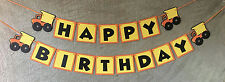 Dump Truck Happy Birthday banner. Can be personalized with name and age