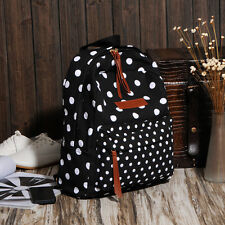 Polka Dot Durable Canvas Backpack Women Lady Travel Bag Girls School Bag Daypack