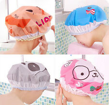 Cute Waterproof Elastic Band Cartoon Lace Environmental Bath Cap Hat  Shower Cap