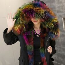Luxury Real Fur Hooded Fur Lined Womens Winter Snow Coat Jacket Black Army Green