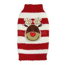 Christmas Reindeer Red White Striped Dog Puppy Sweater Clothes Pullover XXS-XXL