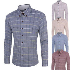 Sell New Mens Luxury Slim Fit Shirts Long Sleeve Plaids&Checks Dress Shirts tops