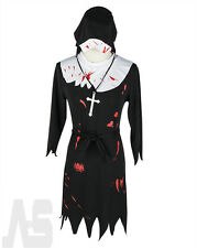Ladies Gothic Nun Costume Adult Scary Mary Zombie Fancy Dress Halloween Outfit