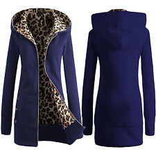 Women Plus Size Long Warm Leopard Hoodie Jacket Coat Outwear Sweatshirts S-XXL