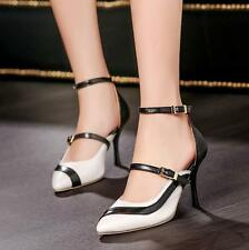 Womens Pointy Toe Cut Out Pumps High Heels Ankle Strap Party Dating Shoes Size