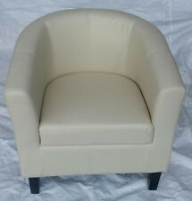 TUB CHAIR WITH CREAM FAUX LEATHER COVER, SMOOTH SEAMS AND DARK WOOD SQUARE LEGS