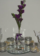 10 x  purple Wedding flowers table centre pieces glass arrangements 18 inch tall