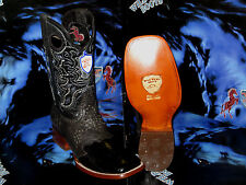 WILD WEST GENUINE OSTRICH LEG SQUARE BLACK RODEO WESTERN COWBOY BOOT 1D20505