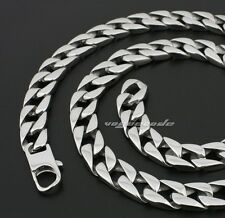 10 Length 316L Stainless Steel Mens Necklace Diamond Curb Cuban Chain 5A002ND