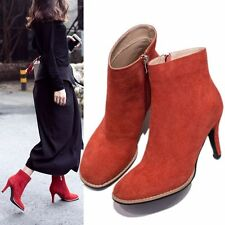 Fashion Womens Suede Leather Ankle Boots High Heels Round Toe Party Pumps Shoes