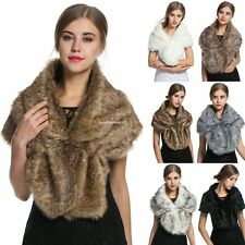 Women Elegant Fleece Faux Fur Shawl Shrug Soft Wedding Party Exquisite Scarf New