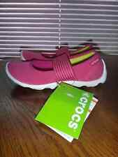 CROCS~Girls Womens Duet Busy Day MARY JANE Stretch Shoes~Pink White~Sz 4 W(Wide)