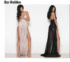 Sexy Women Sequins High-Slit Prom Cocktail Club Party Bridesmaid Long Maxi Dress