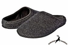 Mens Black House Slippers Handmade in Poland Polar Wool Warm Winter Shoes Soft