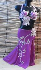 Egyptian Belly Dance Costume bra & Skirt Professional Dancing Purple Silver