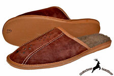 Mens Luxury Suede Leather Slippers Brown Warm Wool Comfortable Winter Shoes New
