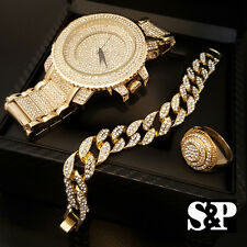 MEN HIP HOP ICED OUT CZ GOLD WATCH & STAINLESS STEEL RING & BRACELET COMBO SET
