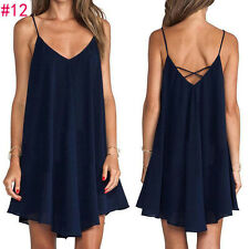 Women's Loose Chiffon Sleeveless Sundress Short Mini Dress Braces skirt stylish