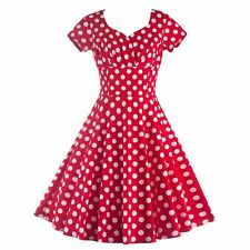 Lady Vintage Style Polka Dot  Party Prom Short Sleeve V-Neck Housewife Dress