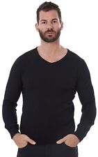 Men's 100% Merino Wool V Neck Jumper Top Soft Long Sleeve Sweater