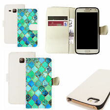 pu leather wallet case for majority Mobile phones - blue equanimity white
