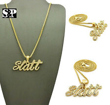 "Hip Hop Iced Out Rapper's CZ Slatt Pendant 18""& 20"" & 24"" Box Chain Necklace"