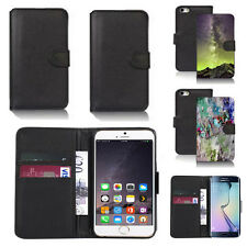 black pu leather wallet case cover for many mobiles design ref q569