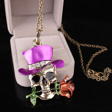 Brand New Skull Flower Necklace Unisex Décor Gifts Silver Plated Pendent Jewelry